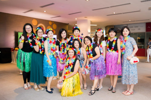 Colour D&D Hawaiian outifts at company dinner