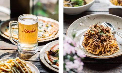 Food photography of beer and spaghetti